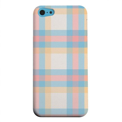 Geeks Designer Line (GDL) Apple iPhone 5C Matte Hard Back Cover - Blue/ Pink/ Orange Plaid Fabric