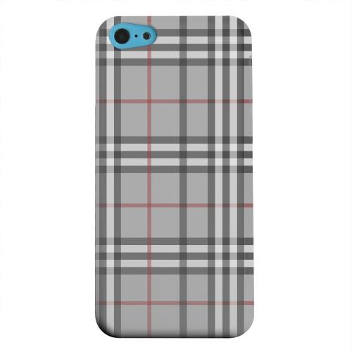 Geeks Designer Line (GDL) Apple iPhone 5C Matte Hard Back Cover - Classic Gray/ White/ Red Plaid