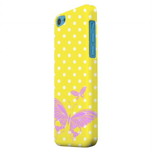 Geeks Designer Line (GDL) Apple iPhone 5C Matte Hard Back Cover - Pink Butterfly on White Polka Dots
