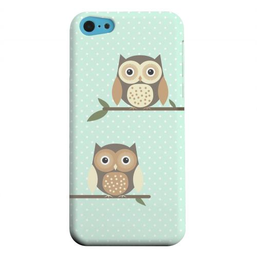 Geeks Designer Line (GDL) Apple iPhone 5C Matte Hard Back Cover - Retro Owls on Polka Dots