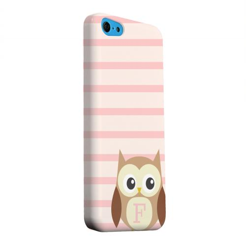 Geeks Designer Line (GDL) Apple iPhone 5C Matte Hard Back Cover - Brown Owl Monogram F on Pink Stripes