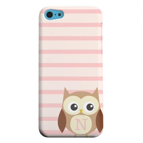 Geeks Designer Line (GDL) Apple iPhone 5C Matte Hard Back Cover - Brown Owl Monogram N on Pink Stripes
