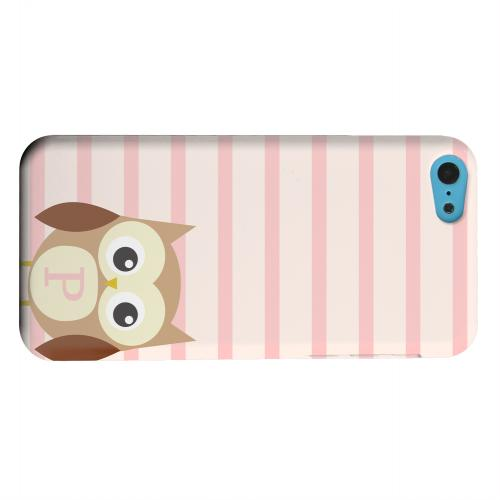 Geeks Designer Line (GDL) Apple iPhone 5C Matte Hard Back Cover - Brown Owl Monogram P on Pink Stripes