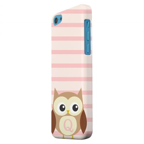Geeks Designer Line (GDL) Apple iPhone 5C Matte Hard Back Cover - Brown Owl Monogram Q on Pink Stripes