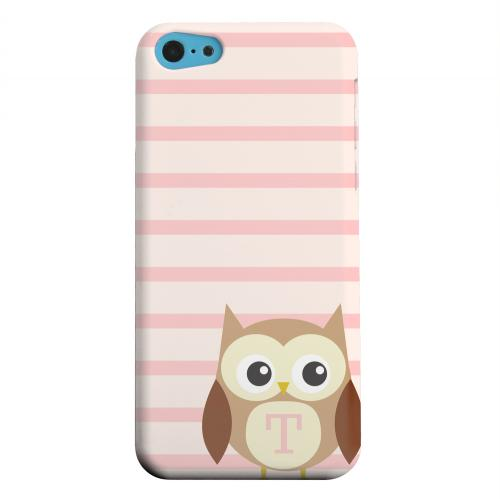 Geeks Designer Line (GDL) Apple iPhone 5C Matte Hard Back Cover - Brown Owl Monogram T on Pink Stripes