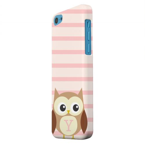 Geeks Designer Line (GDL) Apple iPhone 5C Matte Hard Back Cover - Brown Owl Monogram Y on Pink Stripes