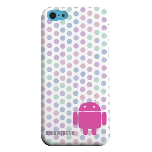 Geeks Designer Line (GDL) Apple iPhone 5C Matte Hard Back Cover - Pink Robot on Pastel Polka Dots