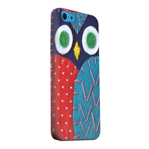 Geeks Designer Line (GDL) Apple iPhone 5C Matte Hard Back Cover - Dark Blue/ Red Owl
