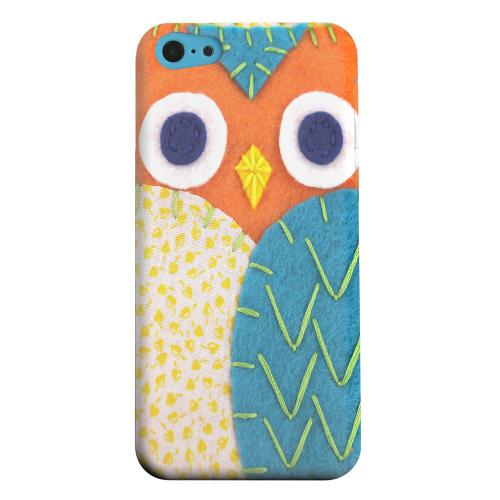 Geeks Designer Line (GDL) Apple iPhone 5C Matte Hard Back Cover - Orange/ Blue Owl