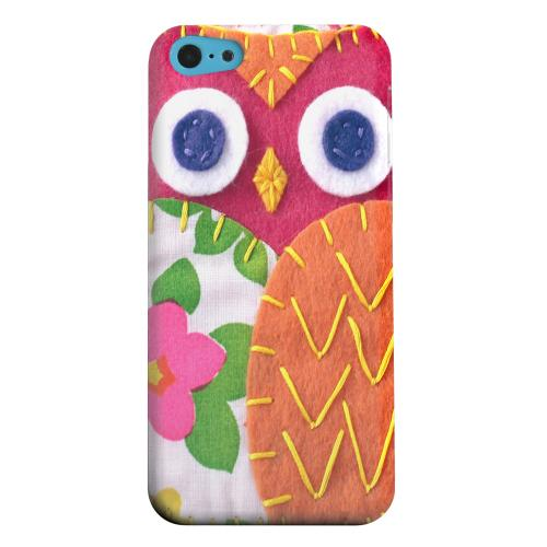 Geeks Designer Line (GDL) Apple iPhone 5C Matte Hard Back Cover - Hot Pink/ Green Owl