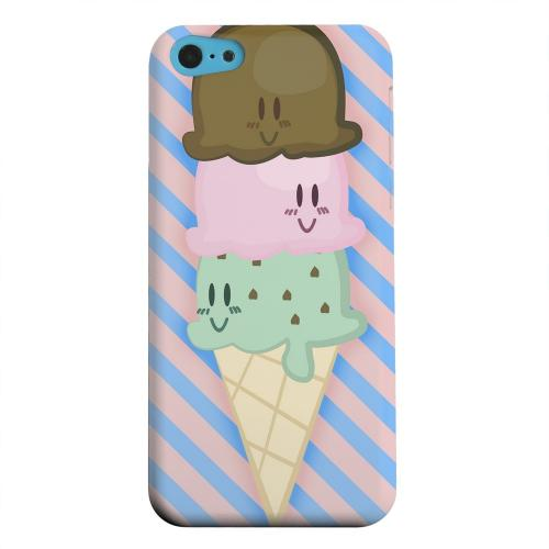 Geeks Designer Line (GDL) Apple iPhone 5C Matte Hard Back Cover - Triple Scoop Ice Cream Cone