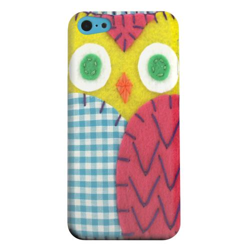 Geeks Designer Line (GDL) Apple iPhone 5C Matte Hard Back Cover - Yellow/ Maroon Owl