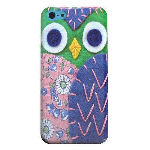 Geeks Designer Line (GDL) Apple iPhone 5C Matte Hard Back Cover - Green/ Blue Owl