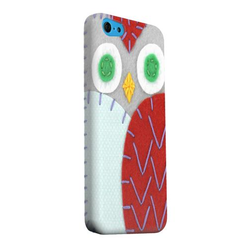 Geeks Designer Line (GDL) Apple iPhone 5C Matte Hard Back Cover - Gray/ Red Owl
