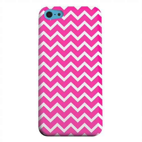 Geeks Designer Line (GDL) Apple iPhone 5C Matte Hard Back Cover - White on Hot Pink