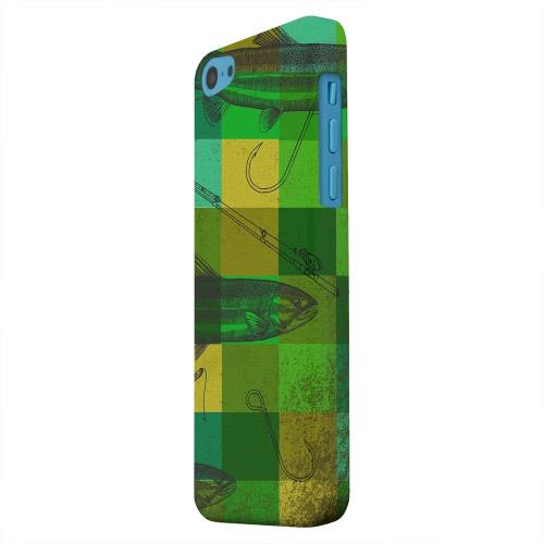 Geeks Designer Line (GDL) Apple iPhone 5C Matte Hard Back Cover - Green Plaid Trout Design
