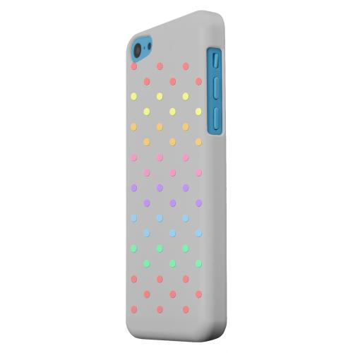 Geeks Designer Line (GDL) Apple iPhone 5C Matte Hard Back Cover - Rainbow Dots on Gray