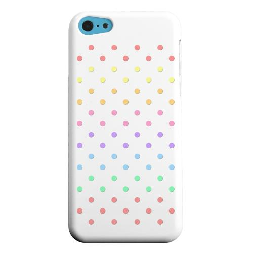 Geeks Designer Line (GDL) Apple iPhone 5C Matte Hard Back Cover - Rainbow Dots on White