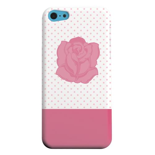 Geeks Designer Line (GDL) Apple iPhone 5C Matte Hard Back Cover - Pink Rose on White