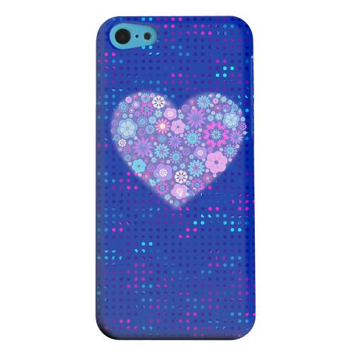 Geeks Designer Line (GDL) Apple iPhone 5C Matte Hard Back Cover - Shimmer Blue Dots & Heart