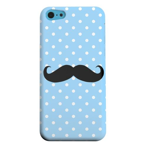 Geeks Designer Line (GDL) Apple iPhone 5C Matte Hard Back Cover - Stache on Sky Blue