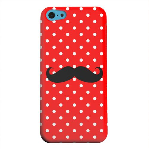 Geeks Designer Line (GDL) Apple iPhone 5C Matte Hard Back Cover - Stache on Red