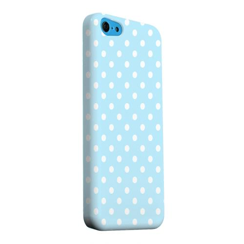 Geeks Designer Line (GDL) Apple iPhone 5C Matte Hard Back Cover - White Dots on Sky Blue