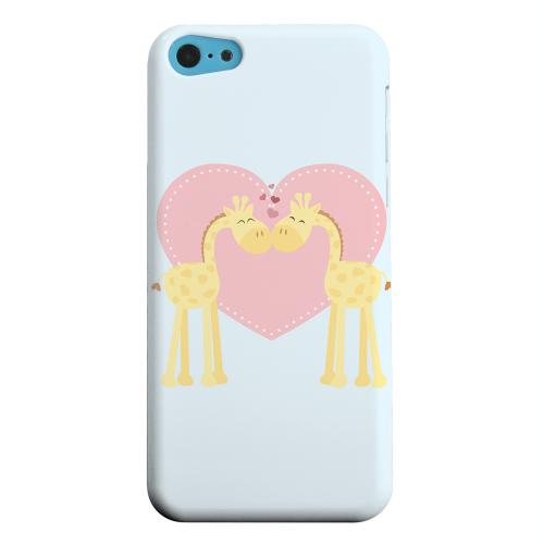 Geeks Designer Line (GDL) Apple iPhone 5C Matte Hard Back Cover - Giraffe Love on Baby Blue