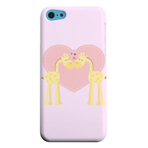 Geeks Designer Line (GDL) Apple iPhone 5C Matte Hard Back Cover - Giraffe Love on Baby Pink
