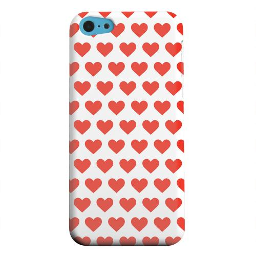 Geeks Designer Line (GDL) Apple iPhone 5C Matte Hard Back Cover - Red Hearts on White