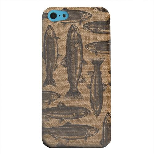 Geeks Designer Line (GDL) Apple iPhone 5C Matte Hard Back Cover - Vintage Salmon & Trout on Burlap