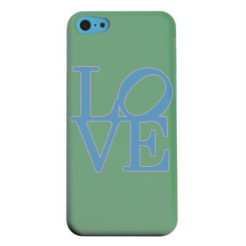 Geeks Designer Line (GDL) Apple iPhone 5C Matte Hard Back Cover - Blue Love on Green