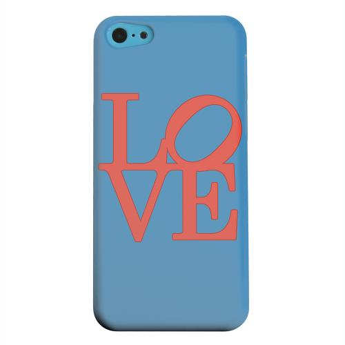 Geeks Designer Line (GDL) Apple iPhone 5C Matte Hard Back Cover - Red Love on Blue
