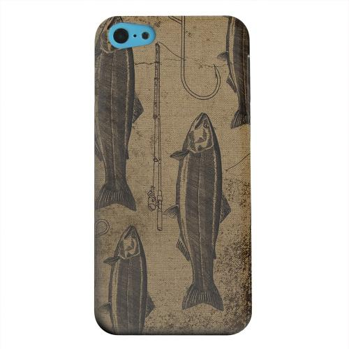 Geeks Designer Line (GDL) Apple iPhone 5C Matte Hard Back Cover - Vintage Salmon/Hook/Pole Print