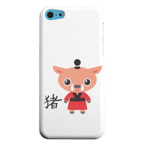 Geeks Designer Line (GDL) Apple iPhone 5C Matte Hard Back Cover - Pig on White