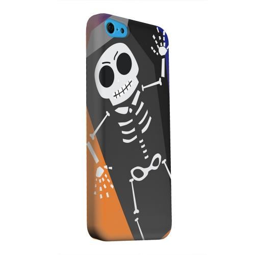 Geeks Designer Line (GDL) Apple iPhone 5C Matte Hard Back Cover - Dancing Skeleton on Black/Orange/Purple