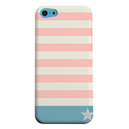 Geeks Designer Line (GDL) Apple iPhone 5C Matte Hard Back Cover - Bars & Stripes Forever on Pink/ Teal