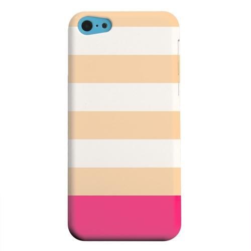 Geeks Designer Line (GDL) Apple iPhone 5C Matte Hard Back Cover - Pink Candy Stripes w/ Pink Bar