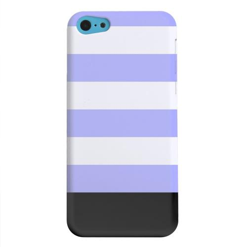 Geeks Designer Line (GDL) Apple iPhone 5C Matte Hard Back Cover - Purple Candy Stripes w/ Black Bar