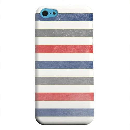 Geeks Designer Line (GDL) Apple iPhone 5C Matte Hard Back Cover - Stripey Blue/ Red