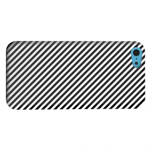 Geeks Designer Line (GDL) Apple iPhone 5C Matte Hard Back Cover - Thin Black/ White Diagonal