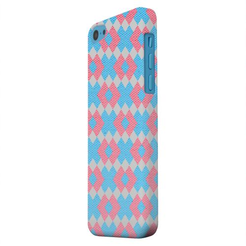 Geeks Designer Line (GDL) Apple iPhone 5C Matte Hard Back Cover - Blue/ Pink Embroidery