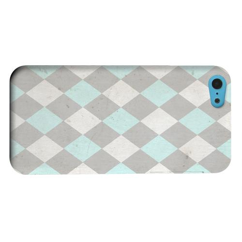 Geeks Designer Line (GDL) Apple iPhone 5C Matte Hard Back Cover - Grunge Pink/ Blue/ Gray Argyle