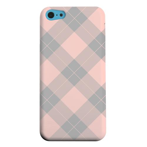 Geeks Designer Line (GDL) Apple iPhone 5C Matte Hard Back Cover - Pink/ Gray Simple Plaid