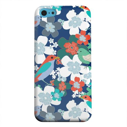 Geeks Designer Line (GDL) Apple iPhone 5C Matte Hard Back Cover - Birds & Flowers on Blue/ Red