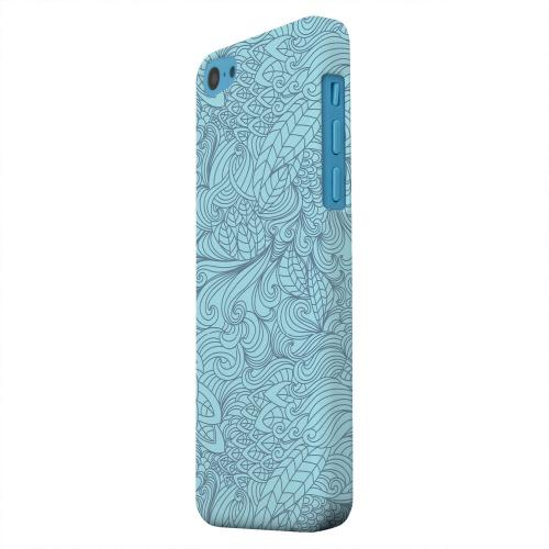 Geeks Designer Line (GDL) Apple iPhone 5C Matte Hard Back Cover - Blue Doodle Lines