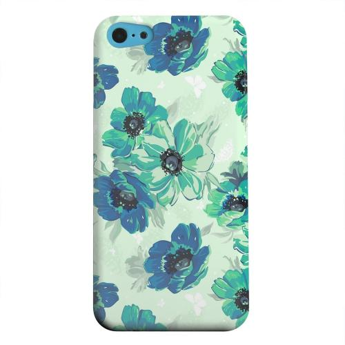 Geeks Designer Line (GDL) Apple iPhone 5C Matte Hard Back Cover - Blue/ Green Floral