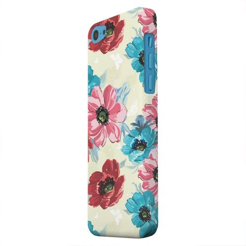 Geeks Designer Line (GDL) Apple iPhone 5C Matte Hard Back Cover - Blue/ Red Floral