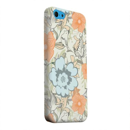 Geeks Designer Line (GDL) Apple iPhone 5C Matte Hard Back Cover - Butterflies & Birds on Orange/ Blue