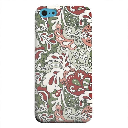 Geeks Designer Line (GDL) Apple iPhone 5C Matte Hard Back Cover - Green/ Red/ Pink Paisley